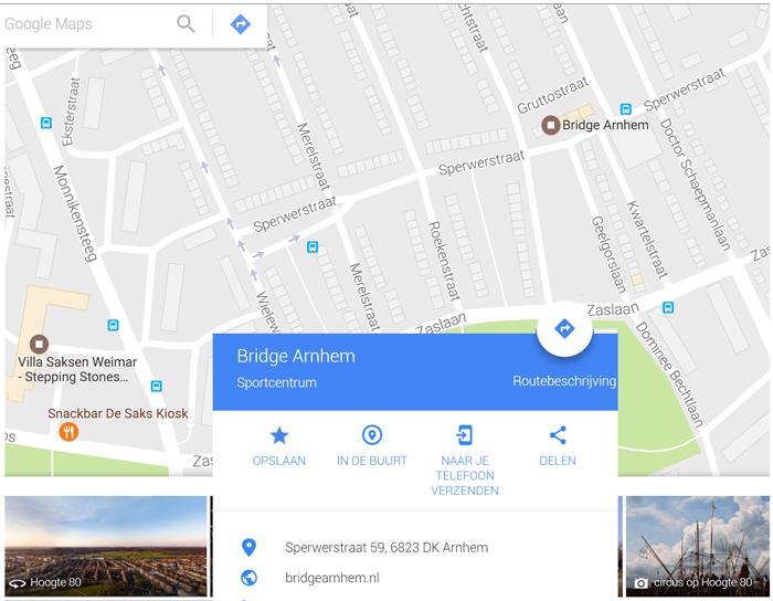 Adres en route DenkTank en BridgeSchool Arnhem