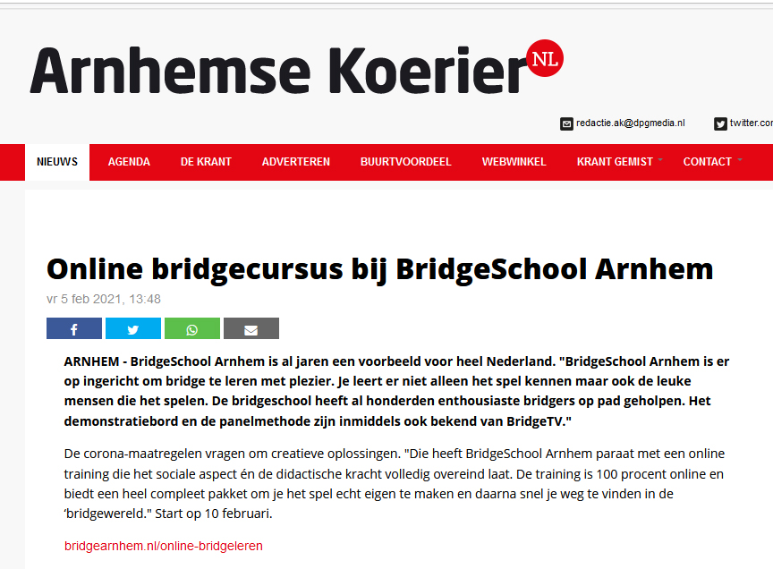 BridgeSchool Arnhem online bridgeles
